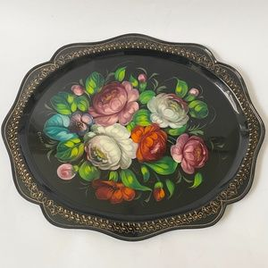"Hand Painted Metal Floral Tray 15"" Artist Signed"